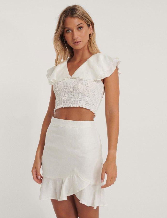 Bottom flounce mini skirt