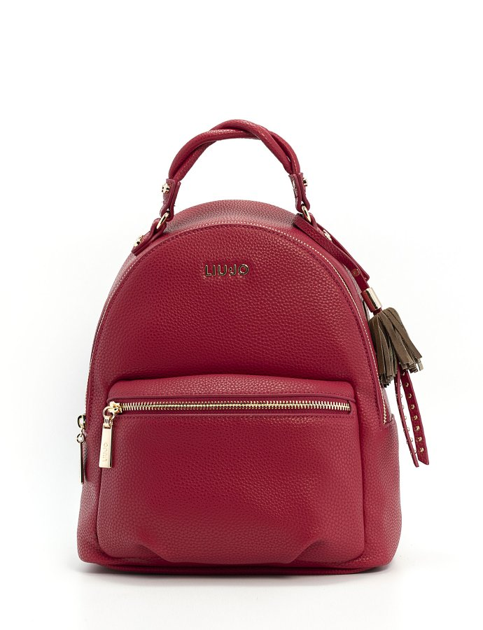 Eco-friendly backpack with charm glossy red