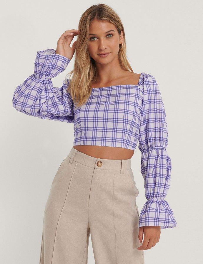 Cropped cotton blouse