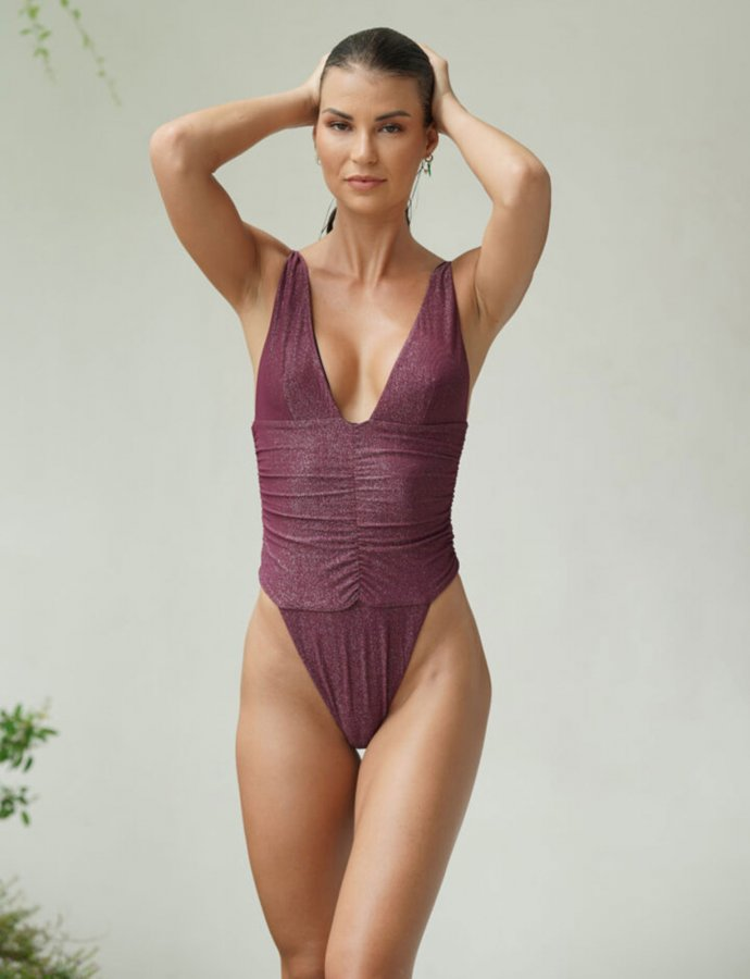 Donna burgundy one-piece swimsuit