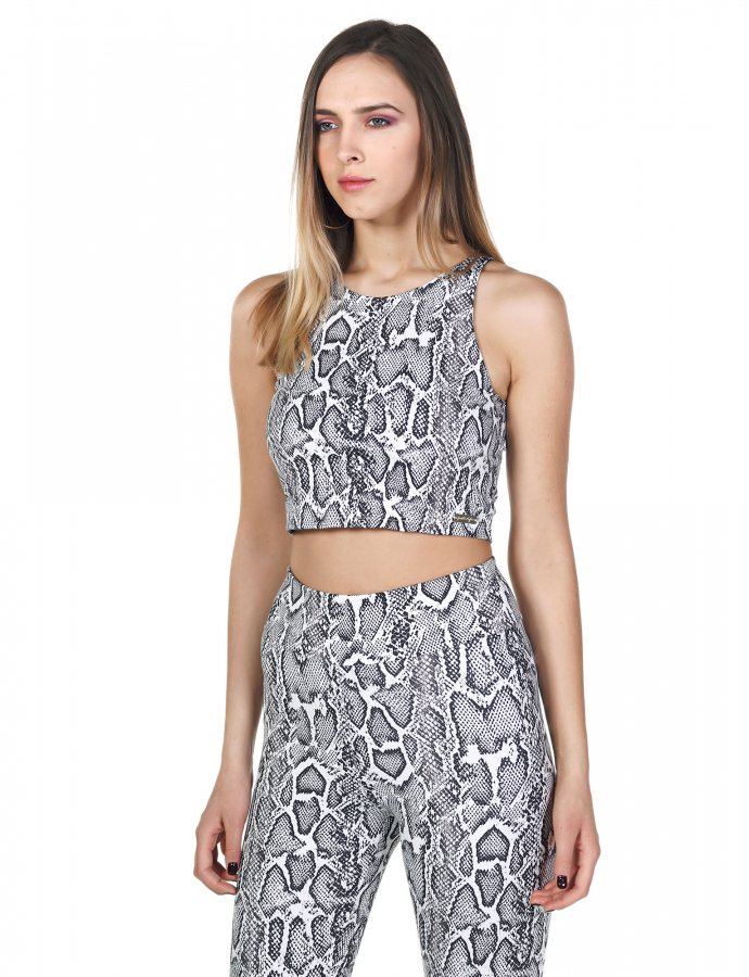 Active snake cropped top