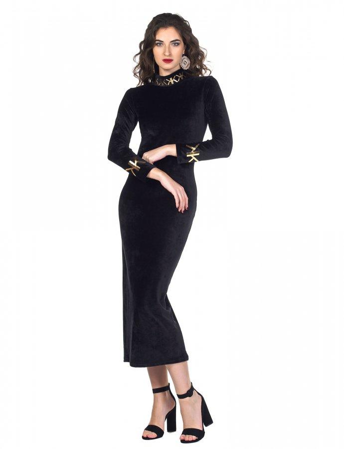 Maxi turtleneck dress black