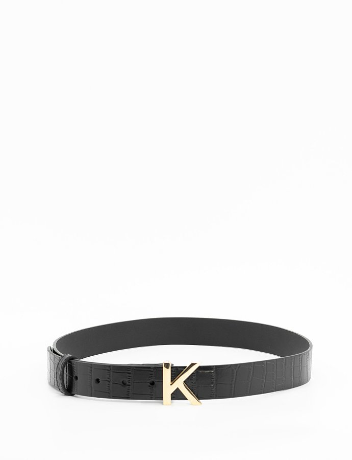 Leather croco KK belt black