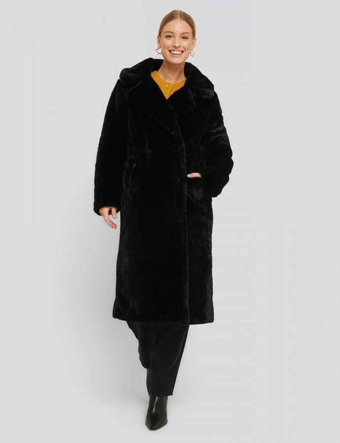 Faux fur black coat