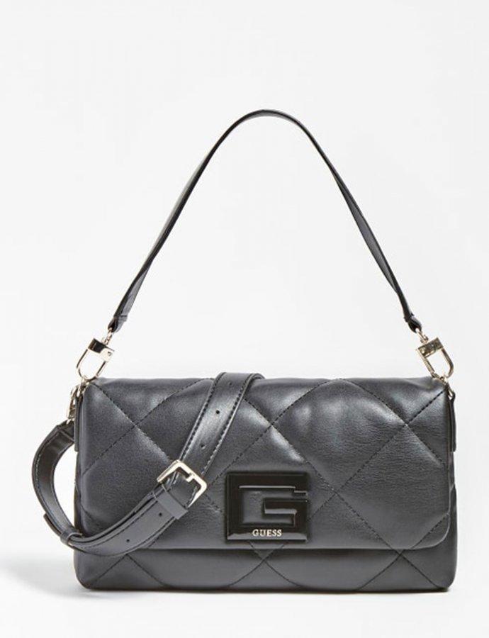 Brightside quilted shoulder bag black