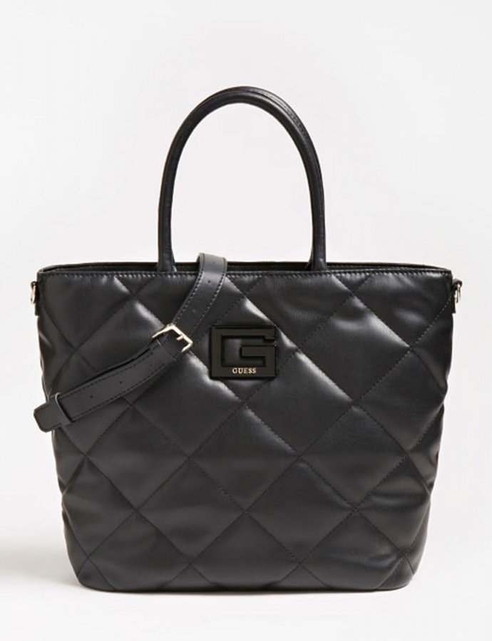 Brightside quilted tote bag black