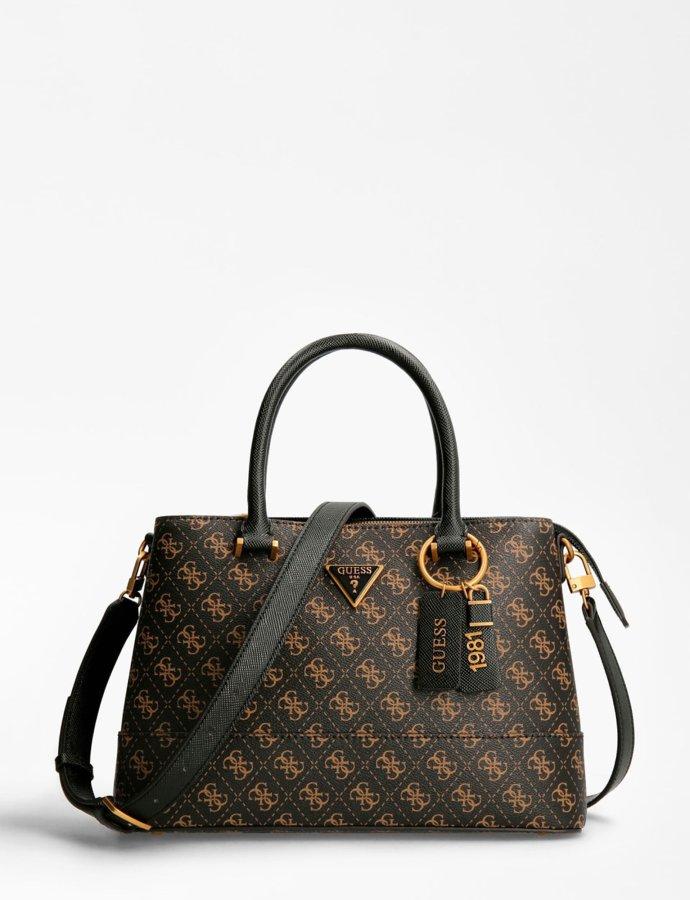 Cordelia luxury satchel handbag logo brown