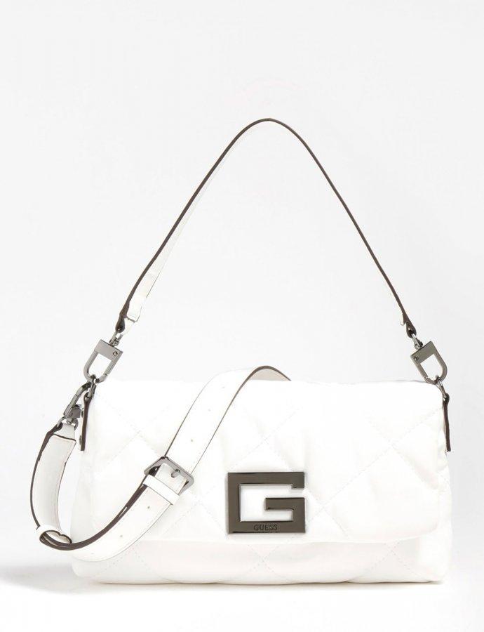 Brightside quilted shoulder bag white