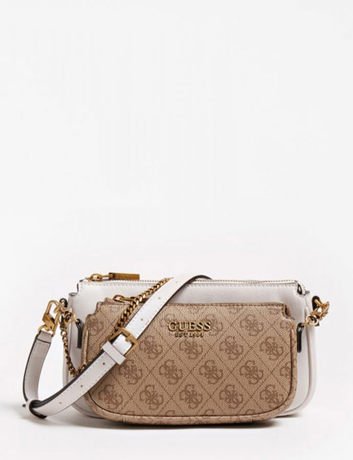 Mika double pouch crossbody brown