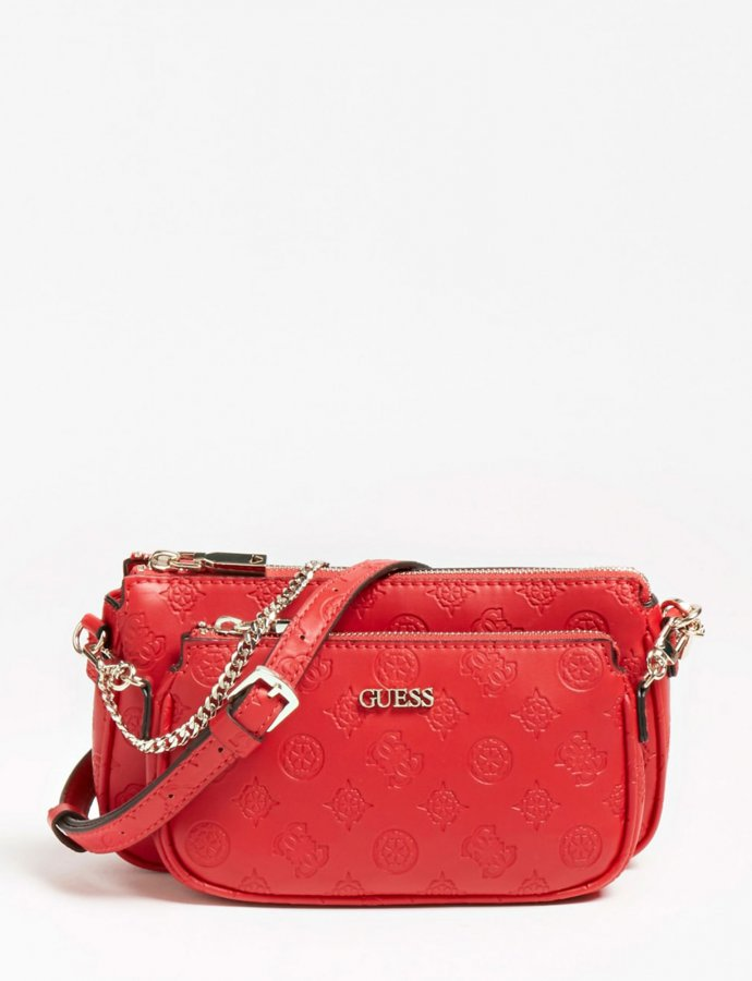 Dayane double pouch crossbody red