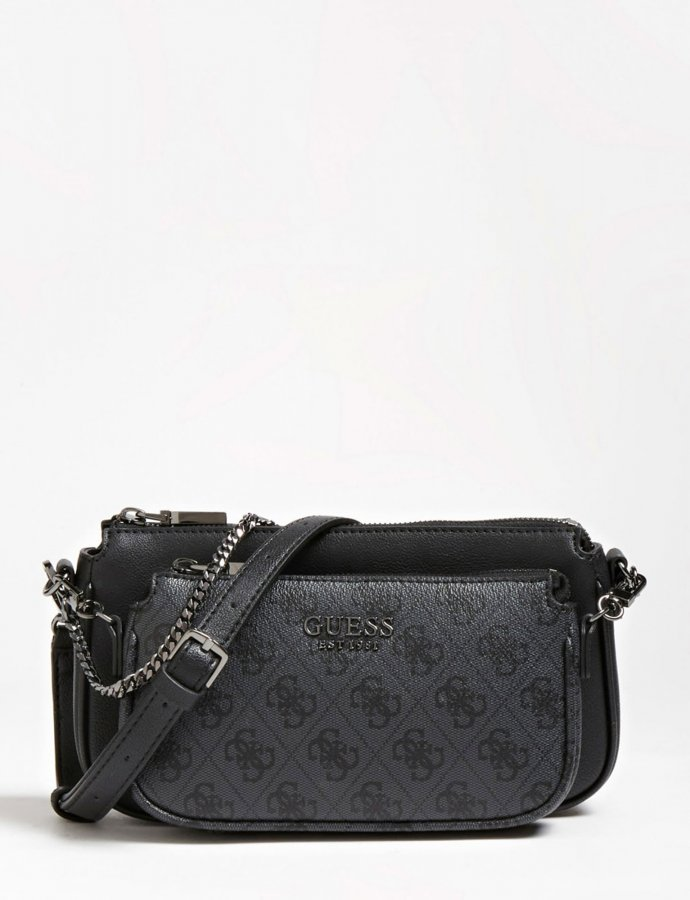 Mika double pouch crossbody black