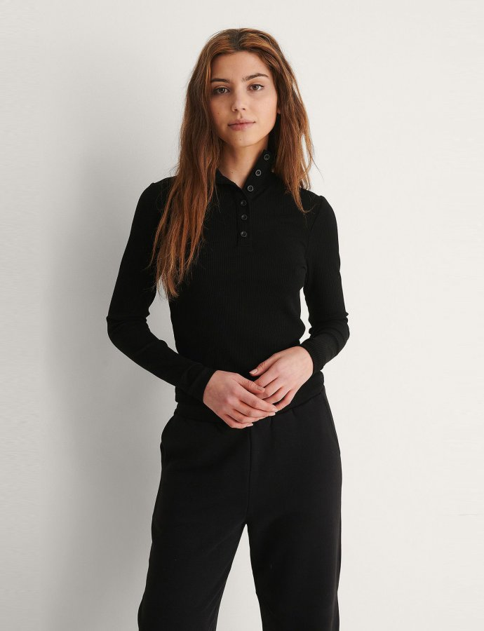 High neck buttoned top black