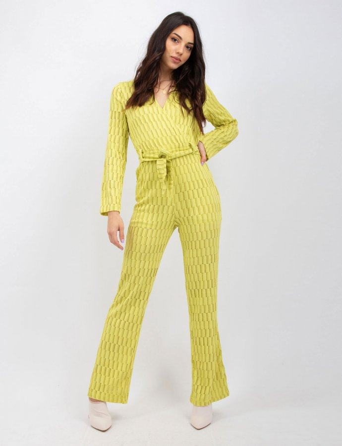 Staggered knit stripe lime jumpsuit