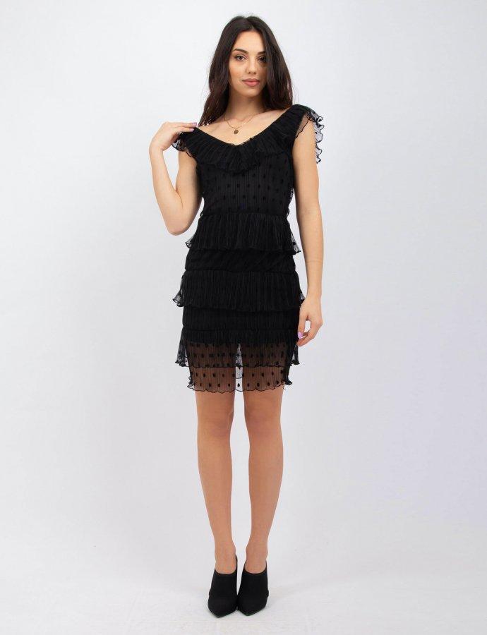 Polka dot pleated black dress