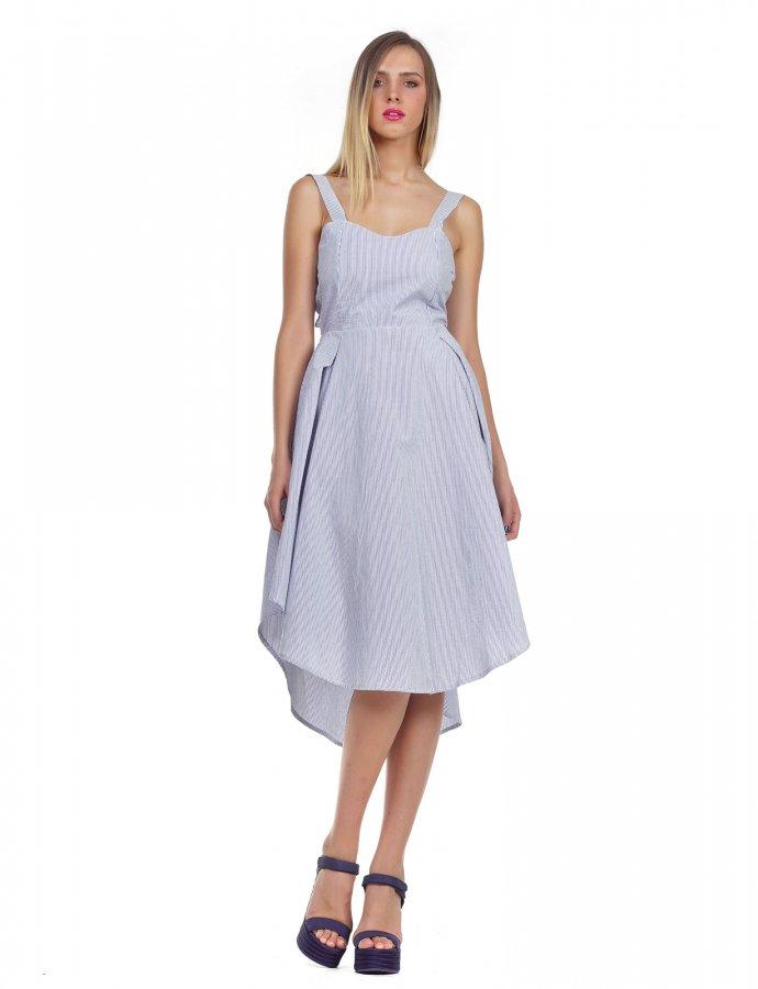 Navy stripe asymmetric midi dress