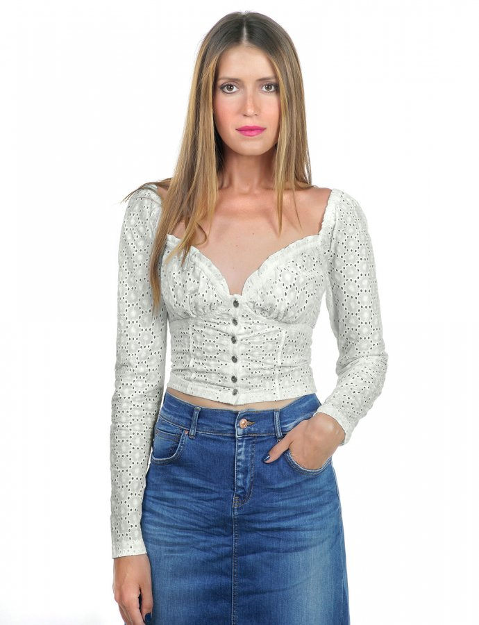 Embroidered cabaret long-sleeve top