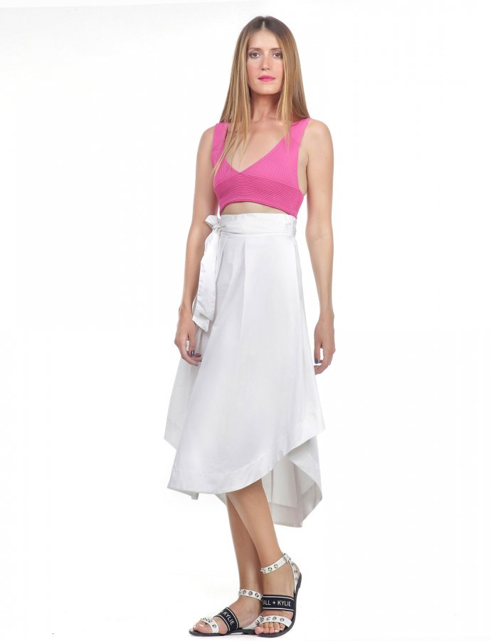 Midi asymmetric poplin skirt