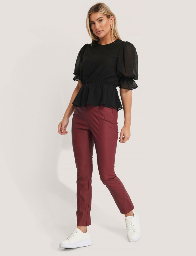 Kick flare PU pants dark red