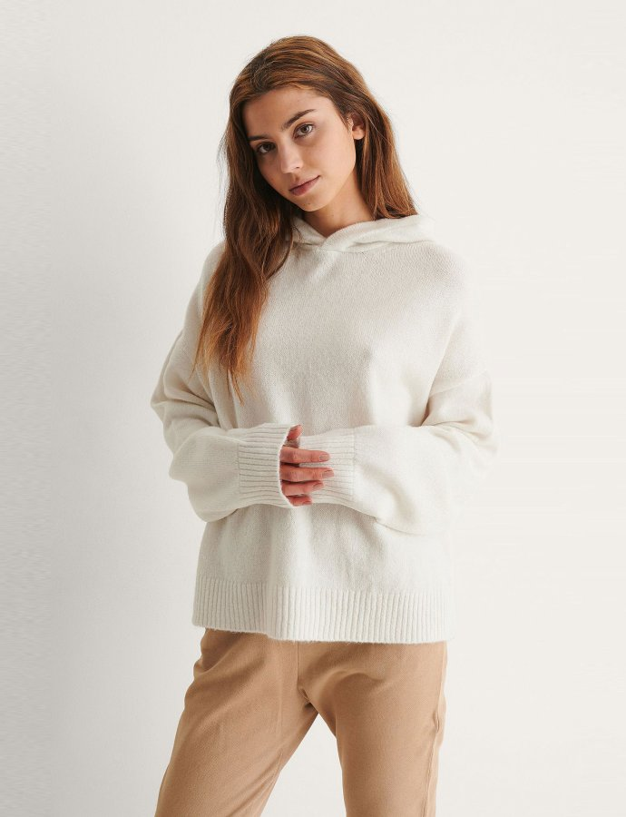 Knitted hoodie off white