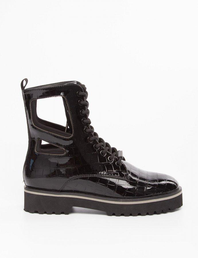Langmore black croco vinyl boots