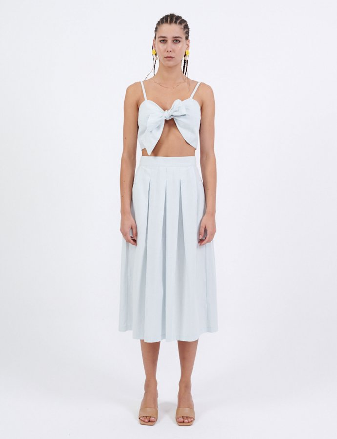 Light blue midi piquè skirt