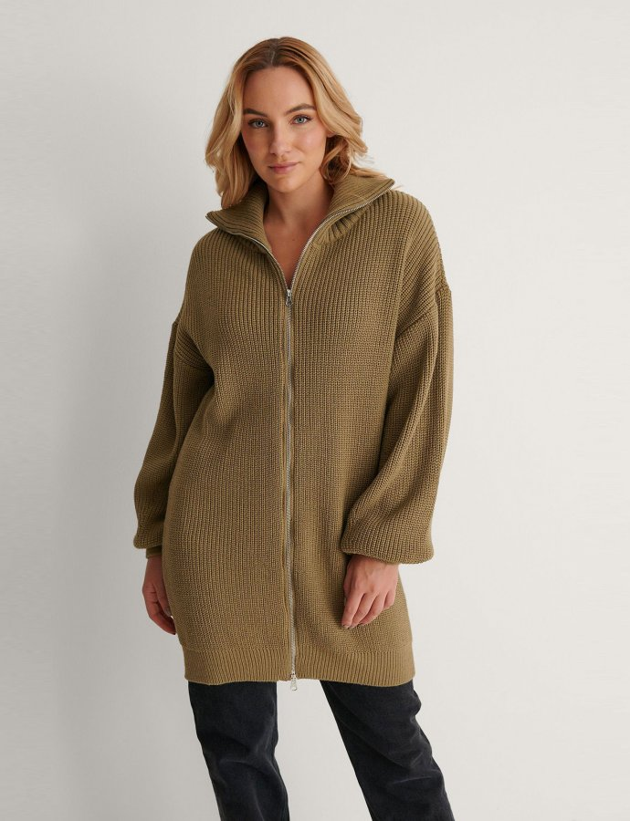 Long zipper sweater khaki