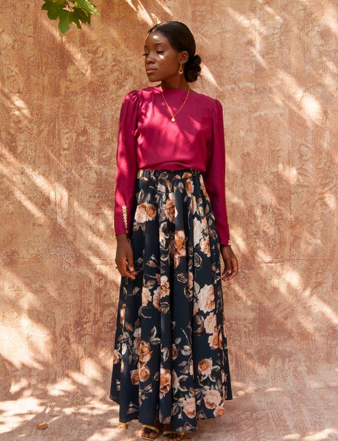 Olivier blue floral skirt