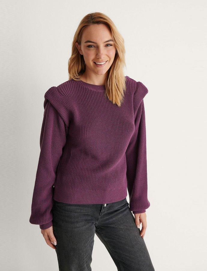 Open back knitted purple sweater
