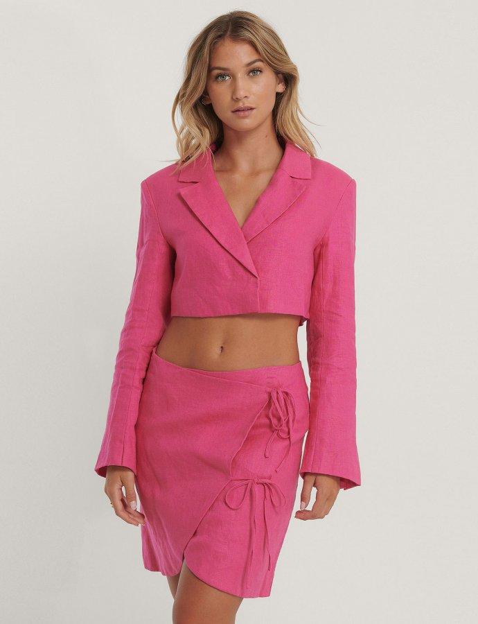 Overlap linen skirt