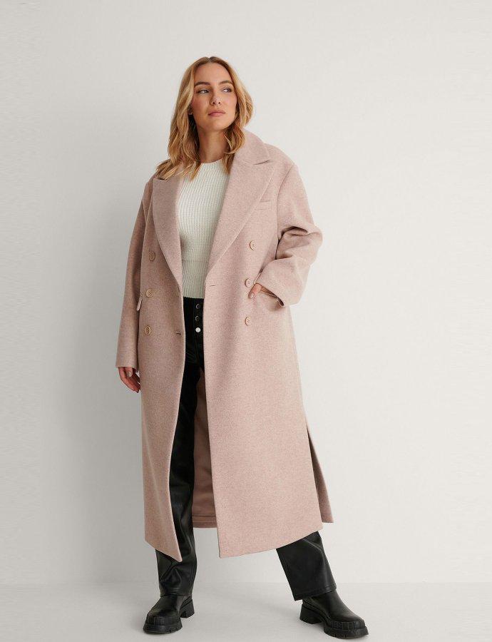 Oversized side slit beige coat