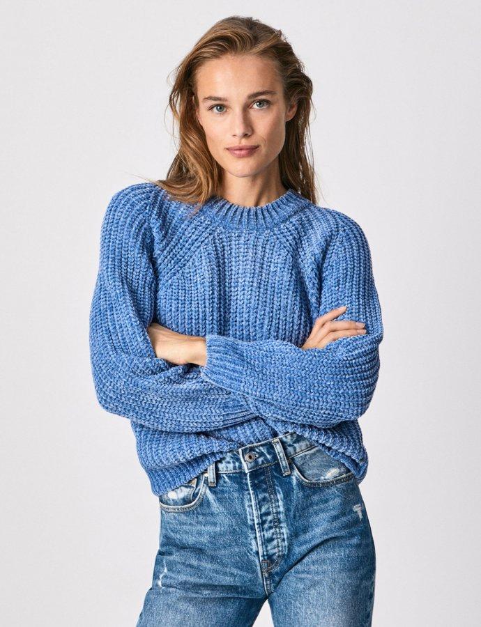 Lisa chenille knit sweater light thames
