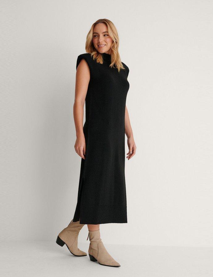 Padded high neck midi dress black