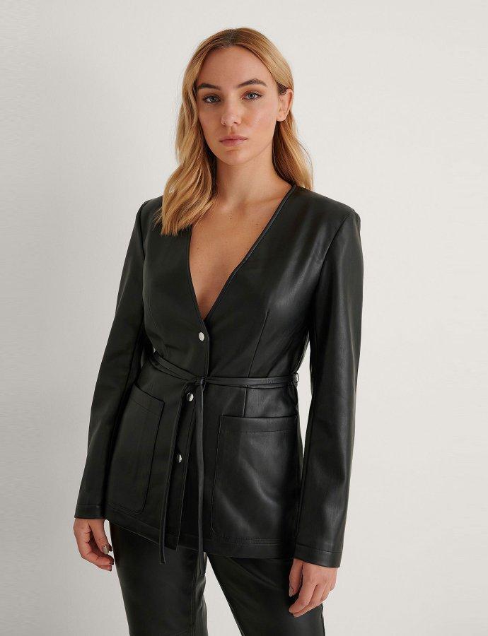 Padded shoulder PU jacket black