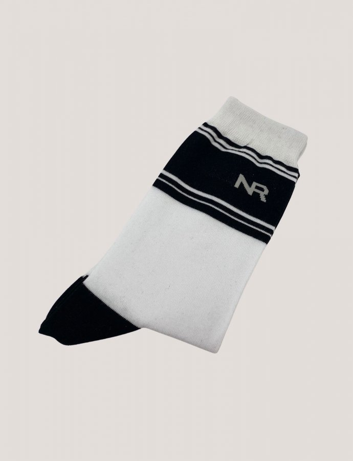 Stripes n logo socks white