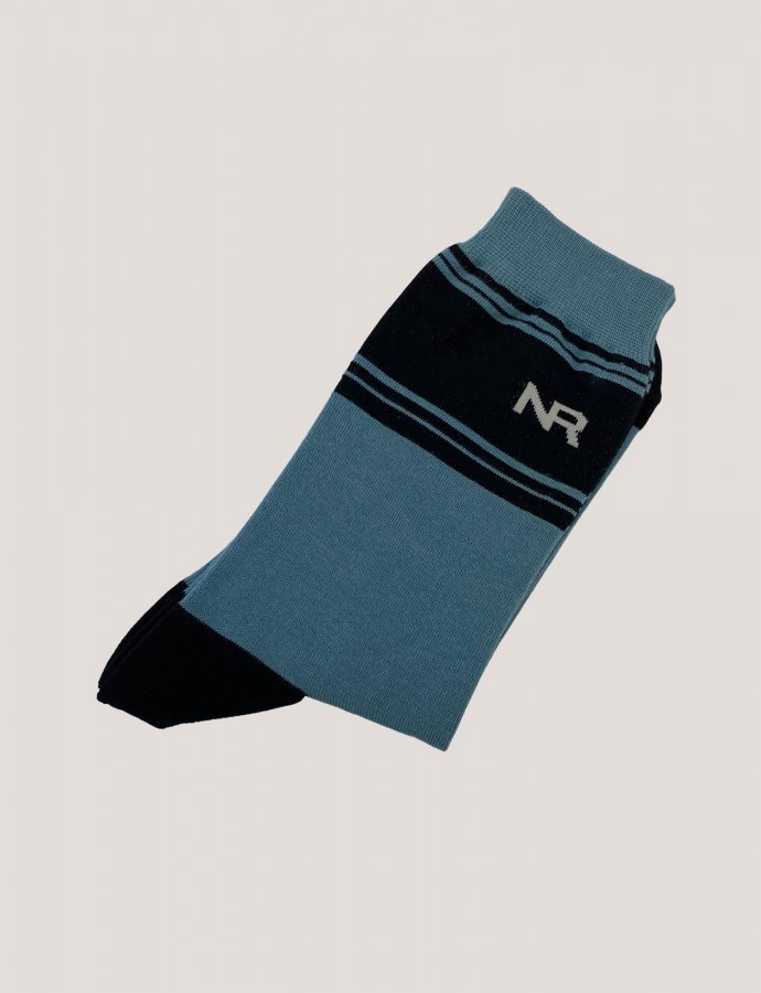 Stripes n logo socks blue