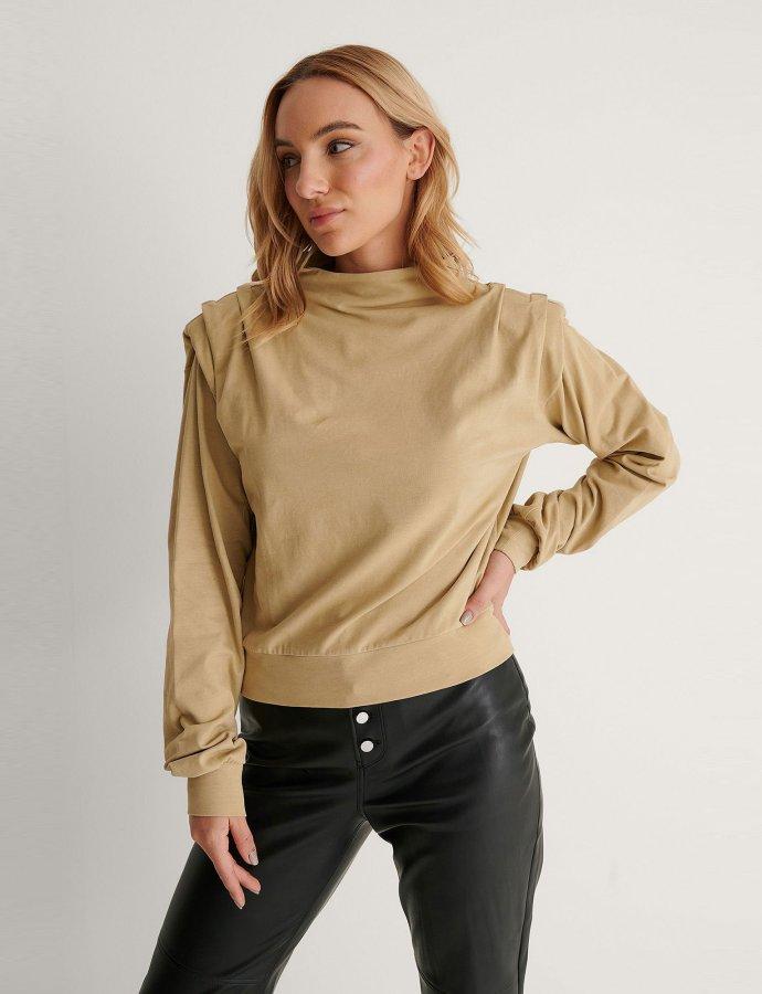 Pleated detail sweater khaki