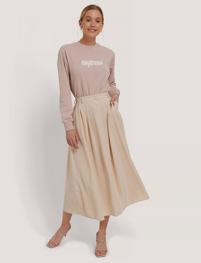 Pleated midi skirt beige