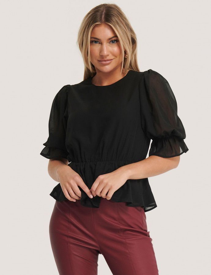 Black puff sleeve chiffon blouse