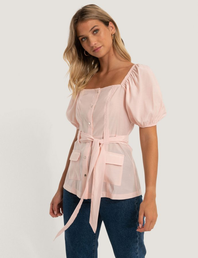Puff sleeve tailored blouse
