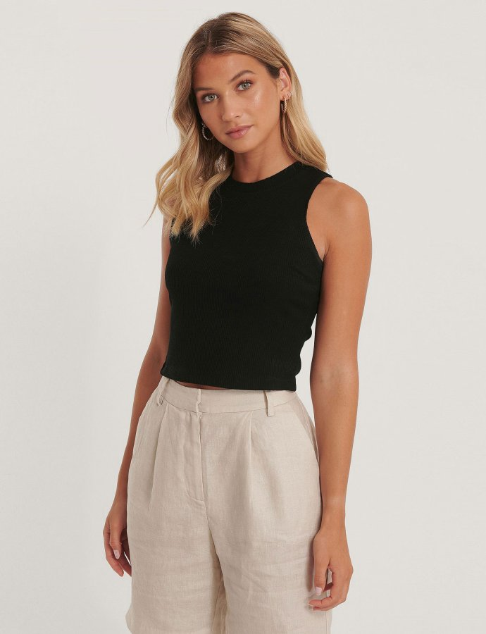 Ribbed jersey top black