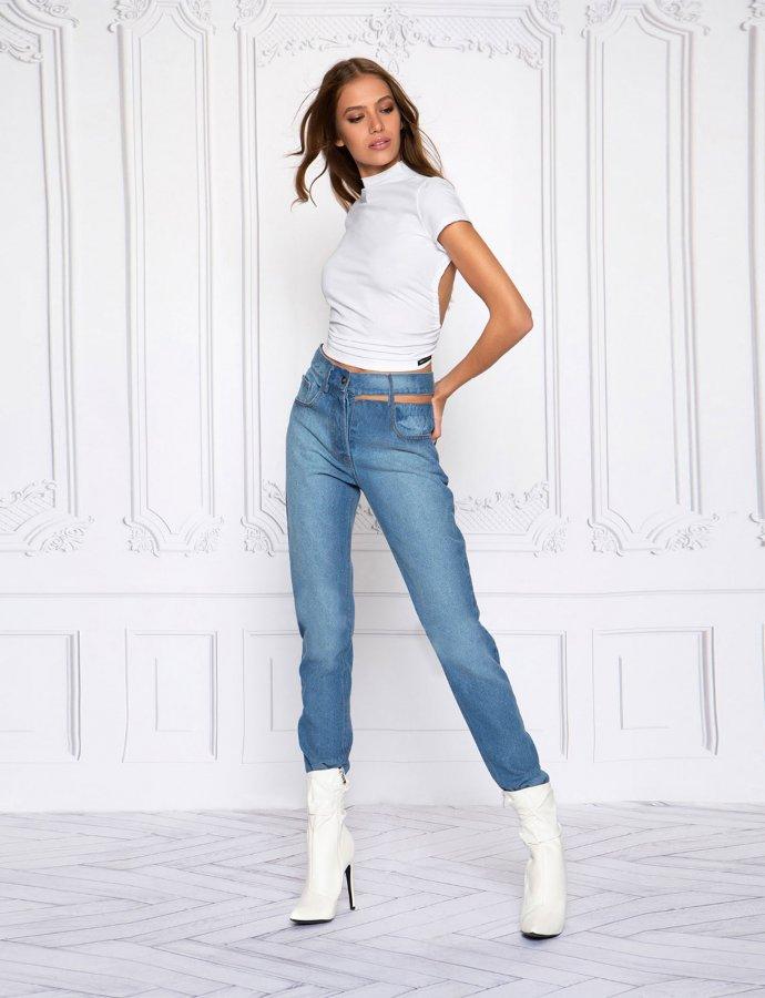 Cut out denim jeans