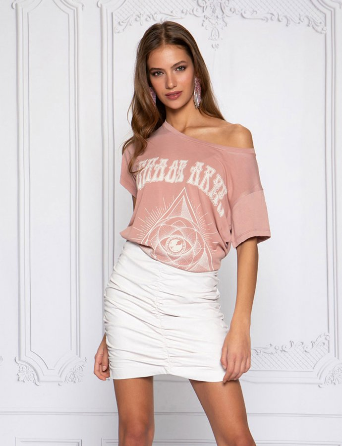 Scrunchie eco leather skirt off white