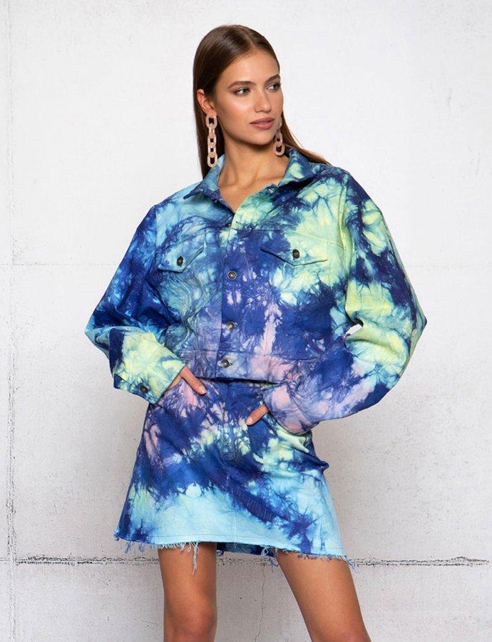 Ocean dance tie dye denim jacket
