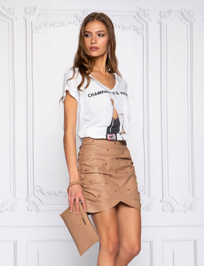 Beige pearl eco leather skirt