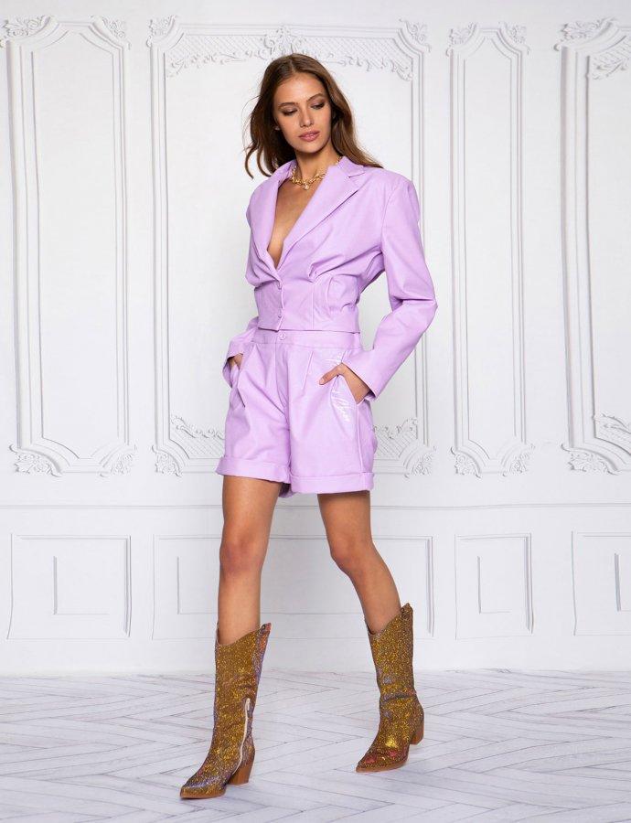 On fleek lilac eco leather jacket
