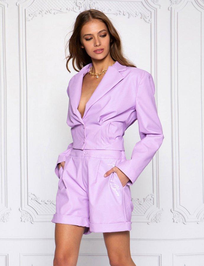 On fleek lilac eco leather shorts