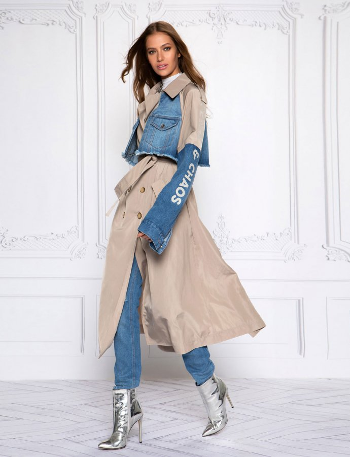 Denim lover trench coat