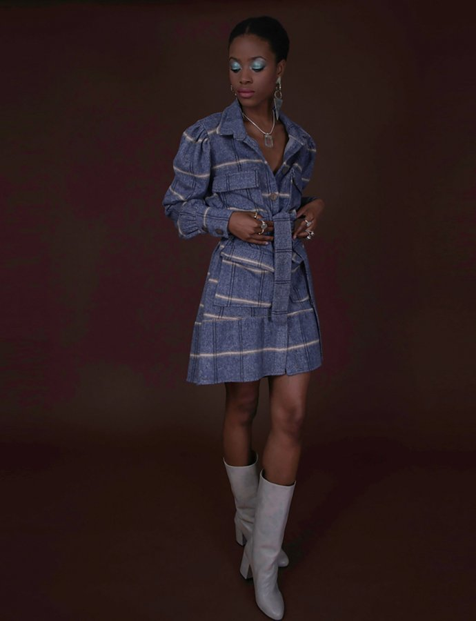 Sisely light blue coat dress