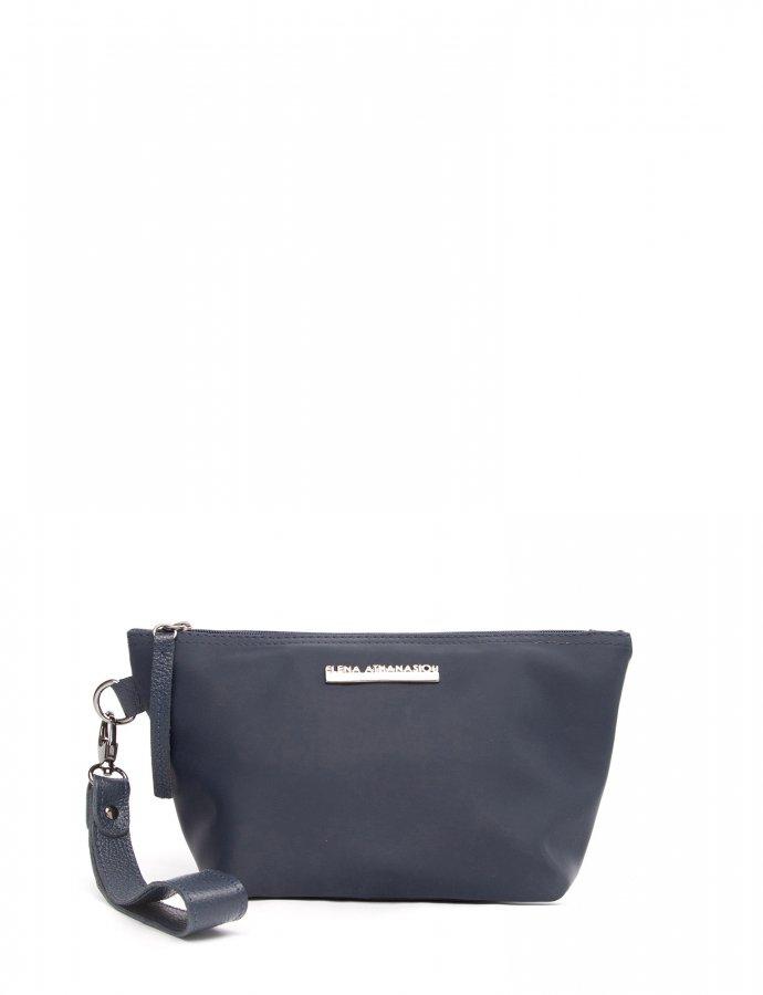 Satin clutch bag blue