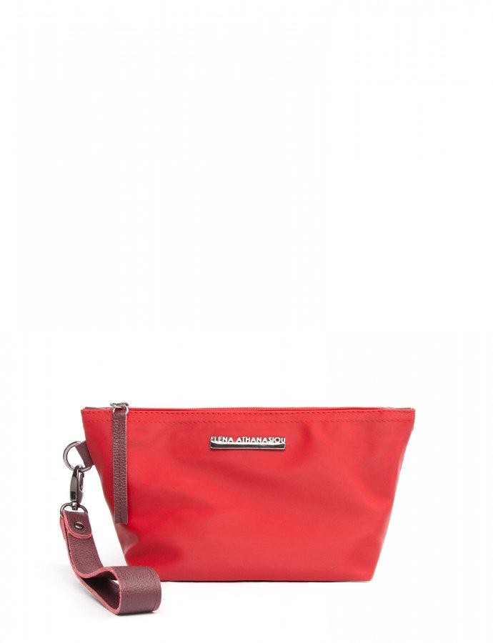 Satin clutch bag cherry